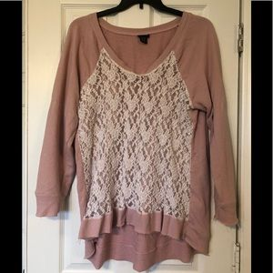 Distressed Lace front sweater